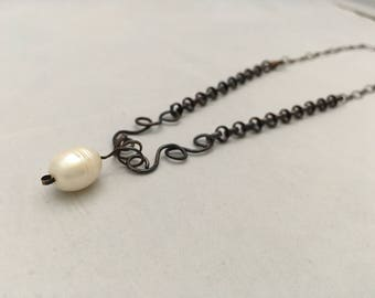 Sterling silver and copper necklace with natural pearl, copper lobster side clasp