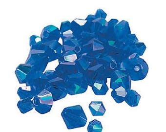 Sapphire Aurora Borealis Cut Crystal Bicone Beads, 4mm to 6mm, pack of 48