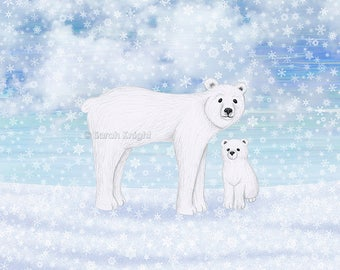 polar bears in the snow - signed art print 8X10 inches by Sarah Knight, winter scene arctic white snowflakes cerulean sky blue whimsical