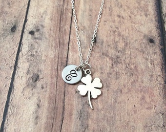 Four leaf clover initial necklace - four leaf clover jewelry, lucky clover necklace, silver four leaf clover pendant, Irish clover jewelry