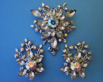 Vintage Rhinestone Brooch and Earrings Set signed Judy Lee