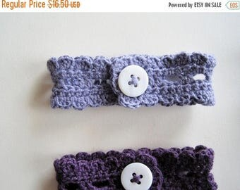 First Fall Sale - 15% Off Button Lace Wrist Cuff in Greyed Lavender Cotton