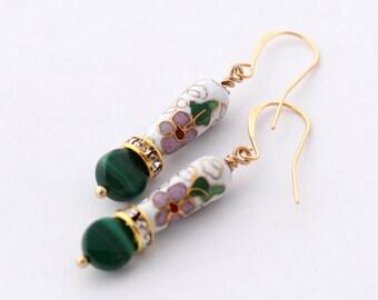 Malachite Earrings, Cloisonne Earrings, Asian Inspired Earrings,Green and Pink Floral Earrings,Gold Earrings,Chinese New Year,Green Earrings