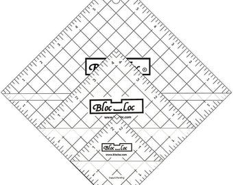 Bloc Loc Half Square Triangle Tool Set #2 - Quilting Notions Ruler Rotary Cutter Ruler HST S2 - Make Accurate Half Square Triangles Easily