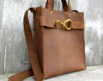 Leather Equestrian Bag in Medium Brown Distressed Leather by Stacy Leigh