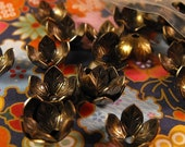 TAX Season Sale 10 Pack New Antique Finish Brass Fancy Floral Style Bead Caps