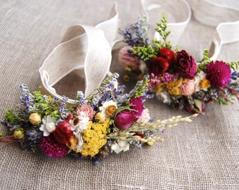 Romantic Montana Fall Wrist Corsage Boutonniere or Pin On Corsage of Multi Colored Dried Flowers, Grasses and Grains by paulajeansgarden