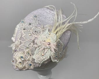 Beaded Applique Teardrop Fascinator