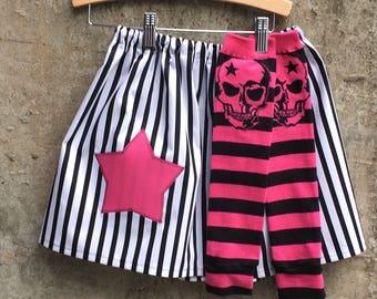 Girls Stripe Skirt with Star and Skull Leg Warmer Set - Perfect for Princess, Pirate, Halloween Costumes - Baby, Toddler, Child, Bid Kid
