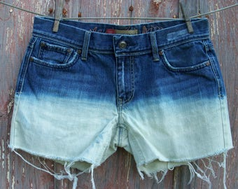 Size 6 Half Bleached Denim Shorts with Embroidery on Back Upcycled ooak 32 waist
