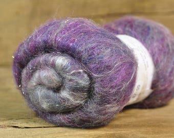 Carded Wool/Luxury Fibre Batt 50g - 'Purple Cloud'