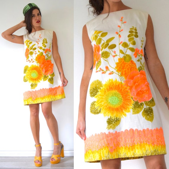 SUMMER SALE / 20% off Vintage 60s 70s Dayglo Floral Screen Print Polished Cotton Shift Dress (size large, xl)