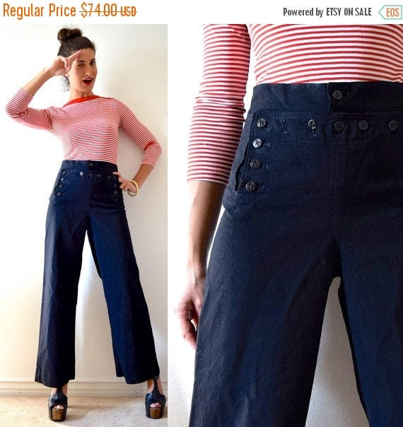 SUMMER SALE / 20% off Vintage 80s 90s Black Wool Sailor Panel Wide Legged Trousers (size 31)
