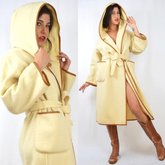 Vintage 60s 70s Cream Wool Brown Leather Trimmed Hooded Coat
