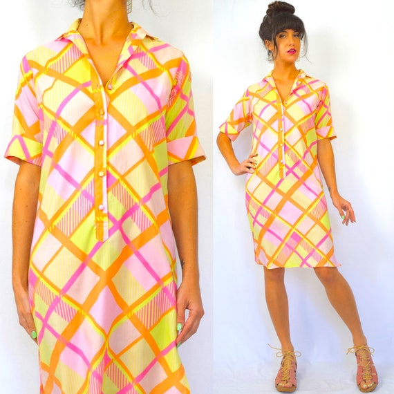 Vintage 60s 70s Neon Plaid Midi Shirt Dress (size small, medium)