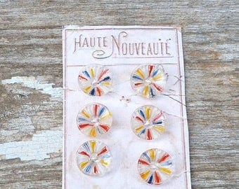 ON SALE Vintage Antique 1920s French  painted glass buttons set of 6 on a card