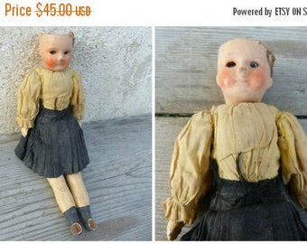 ON SALE Antique French SFBJ 6/0 miniature doll bisque head /composition body arms & legs