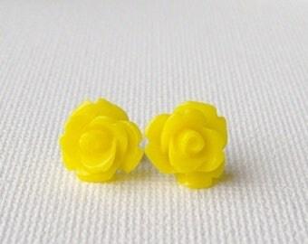 SALE Yellow rose stud earrings / yellow earrings / hypoallergenic earrings / surgical steel earrings / birthday gift / gift for her