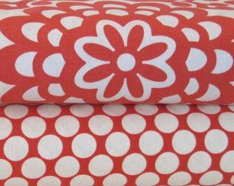 2 Fat Quarter Bundle - Amy Butler Fabric, Wallflower in Cherry, Full Moon Polka Dot Red