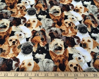 Fabric Traditions, Dog Fabric, Puppies, Quilting cotton - HALF YARD