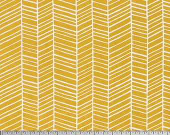 Joel Dewberry Fabric, True Colors Collection, Herringbone in Straw Yellow, cotton quilting fabric -  FAT QUARTER