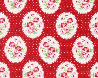 FAT QUARTER - Tanya Whelan Fabric, Rambling Rose, Granny's Wallpaper in Red, Floral cotton quilting fabric