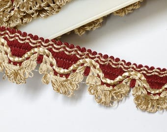 Vintage passementerie fringe trim by the yard - Red vintage woven trim - braid trim