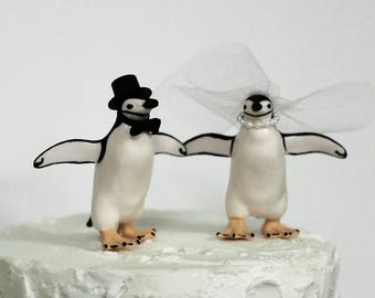 Penguin Wedding Cake Topper, Unique Cake Topper, Bride and Groom, Animal Cake Topper, Black and White Cake