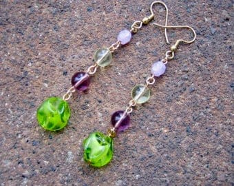 Eco-Friendly Dangle Earrings for Pierced Ears - Flower Bomb - Recycled Vintage Beads in Pale Yellow, Lilac, Pink and Bright Apple Green