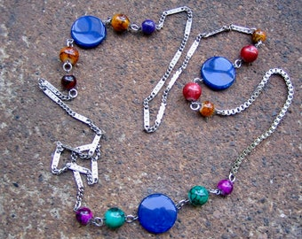 Eco-Friendly Statement Necklace - Coloring Outside the Lines - Recycled Vintage Chain and Beads in Deep, Rich Blue, Green, Red and Purple