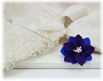 Purple Larkspur Stick Pin - Larkspur Flower Jewelry