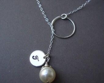 ON SALE Silver Lariat, Dainty Bridal Personalized Lariat, Sterling Silver, Monogram, Swarovski Pearl, Elegant Wedding Jewelry