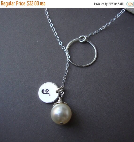 ON SALE Silver Lariat Dainty Bridal Personalized Lariat
