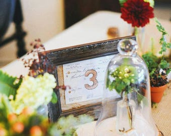 Vintage Wedding Reception or Event Table Numbers, Autumn Wedding, Fall