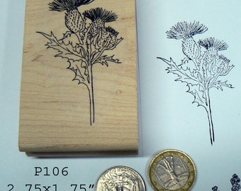 P106 Thistle flowers rubber stamp