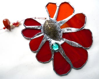 Stained Glass Flower Suncatcher - Red Leaf Flower with Carnelian - Red Orange with Brass Centerpiece