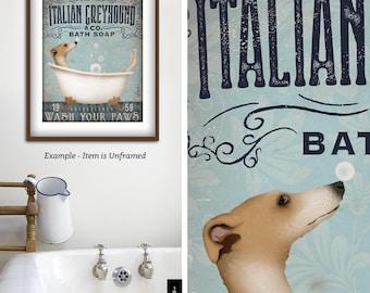 Italian Greyhound Iggy bath soap Company vintage style artwork by Stephen Fowler Giclee Signed Print