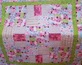"51"" X 51"" MINNIE MOUSE Baby/Toddler Handmade Quilt"