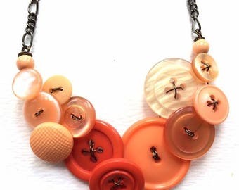 Christmas in July Sale Warm Peach Orange Ombre Button Statement Necklace