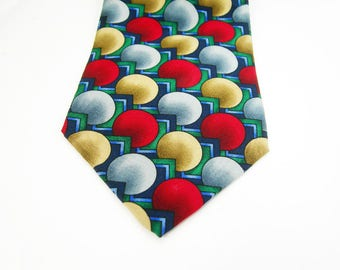 "Jerry Garcia Mens Necktie - 100% Silk - ""Curves and Lines"" Collection 10 - Made in USA by Stonehenge - Colors: Red Blue Tan Gray Green"