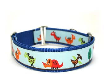 "1.5"" Dino Land buckle or martingale dog collar"