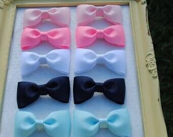 """3 Inch Bow Pairs - Pigtail Hair Bows - Preschool Hair Bow Set - 3"""" Pigtail Hair Clips - CHOOSE Colors - Piggy Tail Bows - Toddler Hair Bows"""