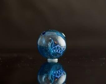 Viking Helmet Pendant / Viking Horns / Glass Slide Pendant / Glass Pendant / Glass Bead / Heavy Blue Stardust & Dichroic /Ready to Ship #675