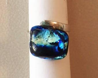 Black N Blue Metallic Dichroic Glass Ring, Fused Glass, Gold Metallic, Sterling Silver Adjustable Ring, Glass Ring, Dichroic Glass Jewelry