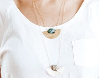 Turquoise Nugget Hammered Half Moon Necklace - Brass | 14k Gold Fill | Sterling Silver