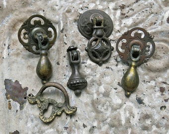 Antique Hardware Pendant Pulls, Drawer Pulls, Hardware Lot...Vintage Escutcheons, Back Plates, Brass, Metal, Keyhole Pull, Teardrop Pendant