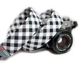 Black and white check Camera Strap