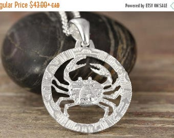 CLOSING SALE Cancer zodiac pendant in oxidized silver
