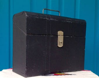 FREE SHIPPING-Vintage 1950's Industrial Hamilton/Amfile/Climax Black Metal File Box with Handle-Mid Century-Office Decor-Storage Box-Mancave