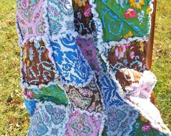Floral Rag Quilt - Lap Rag Quilt - blue, brown, yellow, green, pink - Large Lap Quilt